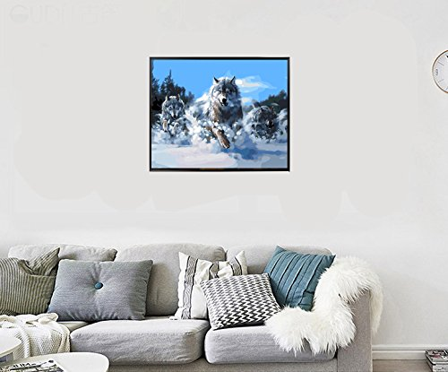 20 inch Paint by Number Kits for Adults Kids,DIY Digital Canvas Oil Painting Gift for Adults Kids Paint by Number Kits Home Decorations Wolves 16