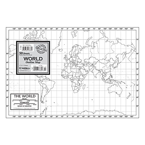 Outline Map Set - KAPPA MAP GROUP / UNIVERSAL MAPS OUTLINE MAP STUDY PADS WORLD (Set of 3)