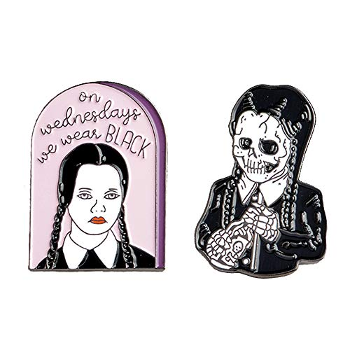 2 Pieces Wednesday Addams Enamel Pin Set, The Addams Family Character Pins, 1.5