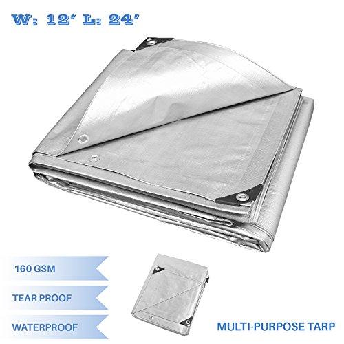 - E&K Sunrise 12' x 24' Finished Size General Multi-Purpose Tarpaulin 10-mil Poly Tarp - Silver