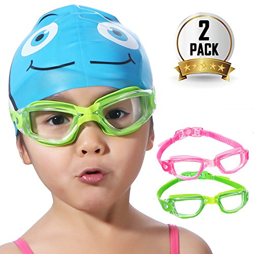 Kids Swim Goggles, 2 Pack Crystal Clear Swimming Goggles for Children and Teenagers, Anti-fog Anti-UV Youth Swimming Glasses, Leak proof, Free nose and ear plugs, one button open straps, for - Wide With Noses People