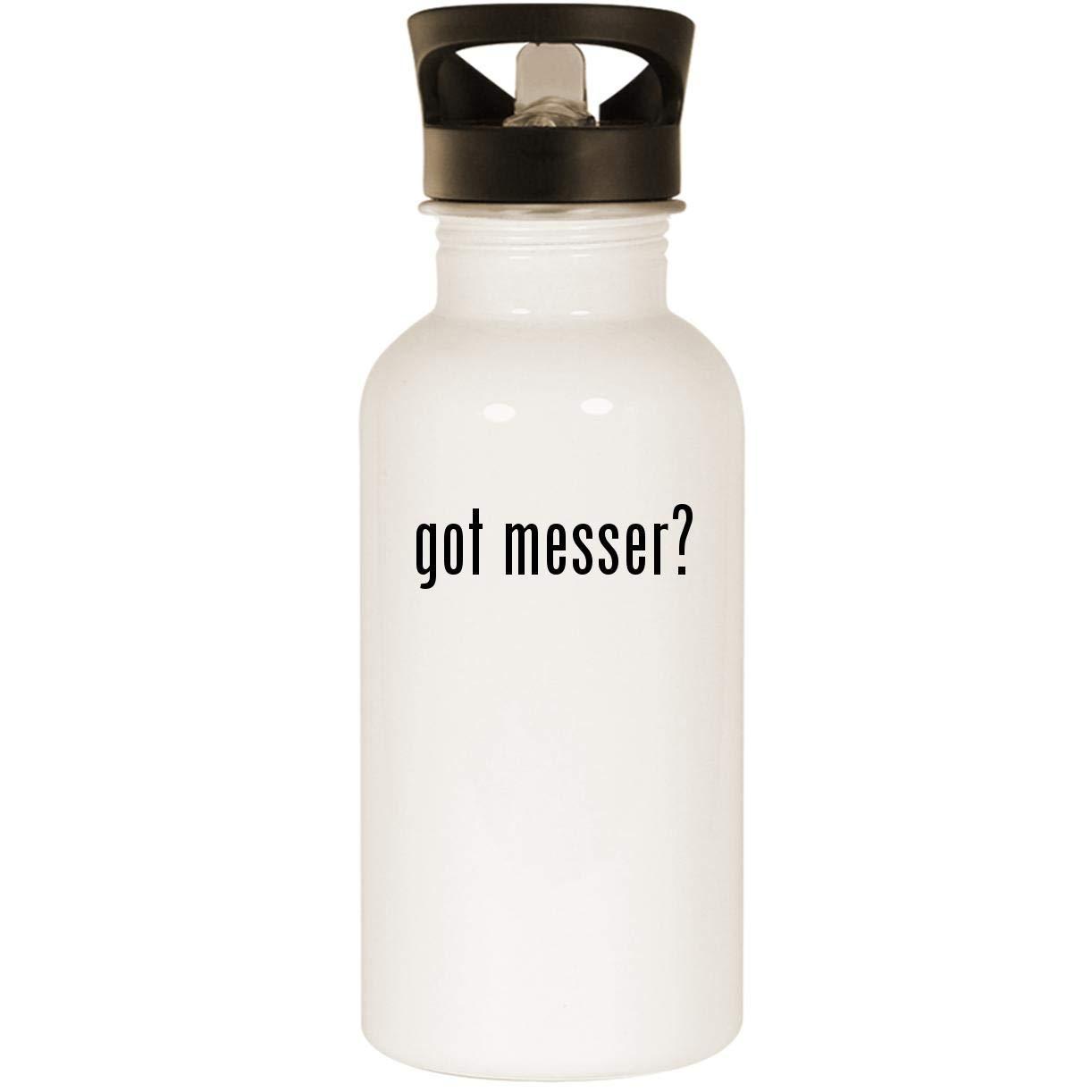 got messer? - Stainless Steel 20oz Road Ready Water Bottle, White
