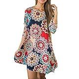 Auwer Women 3/4 Sleeve Pocket Round Neck Tunic Dresses Boho Side Pocket A-Line Shirt Dress (Multicolor, S)