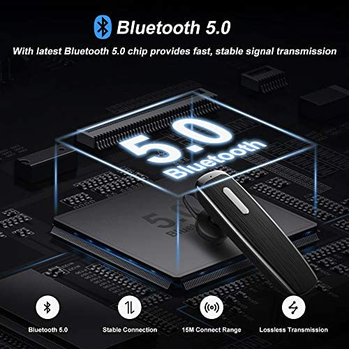 New bee Bluetooth Oreillette, Écouteur sans Fil Bluetooth 5.0 Oreillette Main Libre à Réduction de Bruit pour iPhone Samsung HTC Sony iPad (Noir)