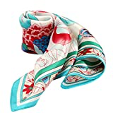 100% Silk Scarf Neckerchief Small Square Print Scarves Women Spring Blooms