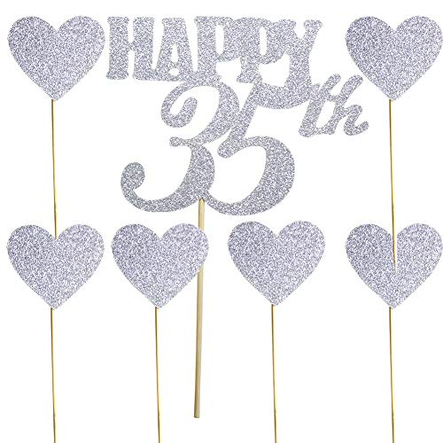 Happy 35th Silver Glitter Cake Topper and Love Heart Cupcake Toppers for 35th Birthday, Wedding Anniversary Party Decorations Set of 7
