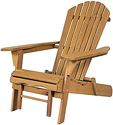 Foldable Adirondack Chair With Pull Out Ottoman Patio Wood Deck Furniture  Outdoor + EBook