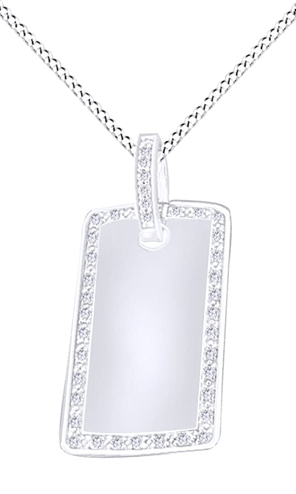 White Cubic Zirconia Men's Hip Hop Dog Tag Pendant In 14k Gold Over Sterling Silver AFFY MNo-M-CSP27893-RG