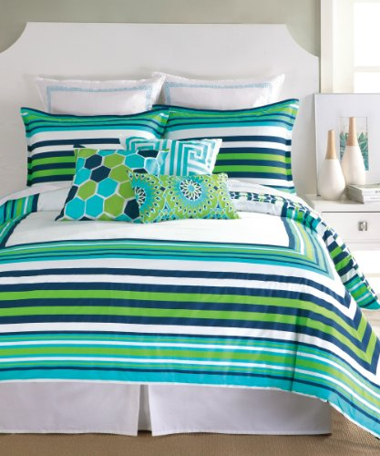 Trina Turk 3-Piece Huntington Stripe Duvet Set, King, Blue