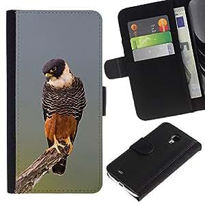 Paccase / Billetera de Cuero Caso del tirón Titular de la tarjeta Carcasa Funda para - hawk orange nature hunting fauna bird - Samsung Galaxy S4 Mini i9190 MINI VERSION!