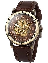 ManChDa Mens Skeleton Automatic Mechanical Steampunk Burlywood Dial Bronze Wrist Watch