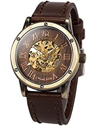 Mens Wrist Watch Fashion Brown Leather Band Special Burlywood dial Automatic Mechanical Wrist Watch for Men +...