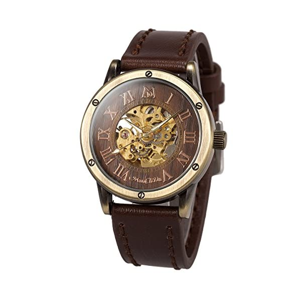 ManChDa Mens Wrist Watch Fashion Leather Band Special Burlywood dial Automatic Mechanical Wrist Watch for Men + Gift Box 3