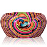 Supreme Handcrafted Rainbow Wooden Yarn Bowl 6 x 3 Inches with Spectacular Colors and Mesmerizing Design. Each Bowl Takes Months for Artist to Create. Collector Treasure, Stunning Gift