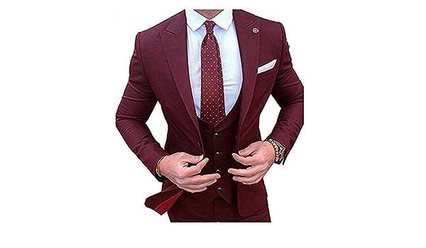 Men Suits 3 Pieces 1 Button Peak Lapel Slim Fit Groom ...