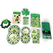 St Patricks Day Decorations and St Patricks Day Accessories for Your Irish Celebration - St Patricks Day Table Cloth, an Assortment of St Patricks Day Stickers and a 16 Plate Setting of St Patricks Day Plates and Napkins in Main Course and Dessert Course Sizes - 10 Pack Bundle.