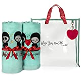 Love You & Me Beach Towel Set, Pool Towel Set in Clear Beach Bag, Set of 2, 100% Cotton Embroidered Towels, Wedding Gift