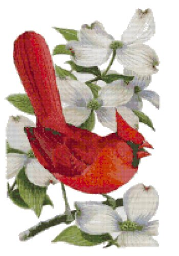 Virginia State Bird (Northern Cardinal) and Flower (American Dogwood) Counted Cross Stitch Pattern