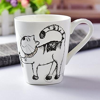 Byzr tazze bone china cartone animato carino vetro colazione