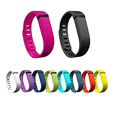 Ecsem® New 10pcs Colorful Large/Small Replacement Wristband Band with Clasps for Fitbit Flex Only /No Tracker/ Wireless Activity Bracelet Sport Wristband Fit Bit Flex Bracelet Sport Arm Band Armband Fitness Case