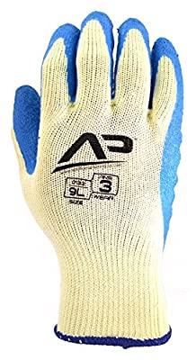 Apollo Performance Work Gloves, Natural Rubber Latex Coated Utility Glove, 10 Gauge Polyester Knit, Wrinkle Grip Finish, 1 Pair, Natural/Green