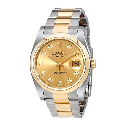 Rolex Datejust 36 Champagne Dial Stainless Steel and 18K Yellow Gold Rolex Oyster Automatic Mens Watch 116203CDO