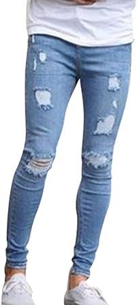 Wanyangg Skinny Jeans Pantalones Rotos Vaqueros Hombres Masculinos Ocio Rasgados Elasticos Denim Pantalones De Casual Con Bolsillos Slim Fit Tejanos Ripped Jean Pantalon Para Hombre Amazon Es Ropa Y Accesorios
