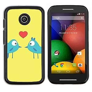 LECELL--Funda protectora / Cubierta / Piel For Motorola Moto E -- Los pájaros del amor del beso de los amantes del corazón azul Arte de la historieta --