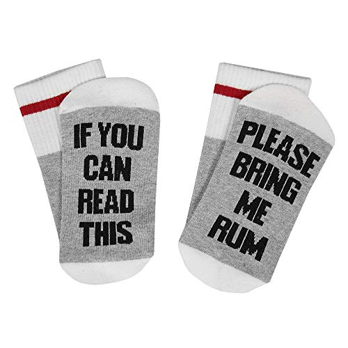 Unisex Christmas Valentine's Day Cotton Crew Socks IF YOU CAN READ THIS RUM Novelty Funky Slipper Socks