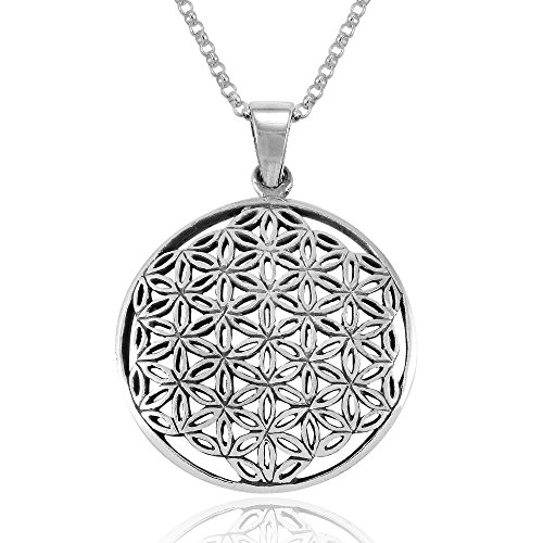 MIMI Sterling Silver Flower of Life Mandala 27 mm Round Pendant Necklace, 18 inches ()