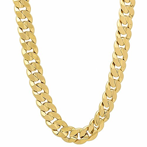6mm 14k Gold Plated Concave Cuban Link Curb Chain Necklace, 20