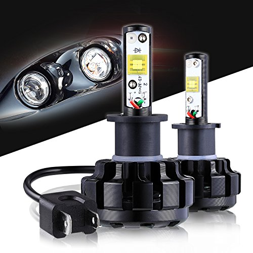 LED Headlight Bulbs H3 CREE Chips All-in-One Conversion Kit,12000 Lumen 6000K Cool White Anti-flicker Fit for High Beam Low Beam Fog Car Lights Replacement by Max5-2 Years Warranty
