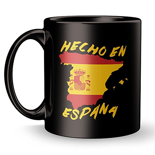 fan products of Hecho En España Coffee Mug - Made in Spain Super Funny and Inspirational Gifts 11 oz ounce Black Ceramic Tea Cup Ultimate Travel Gear Novelty - Real Madrid FC Barcelona