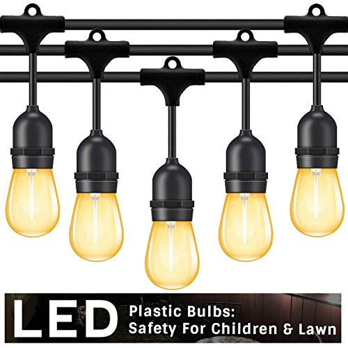 Foxlux Outdoor LED String Lights 48FT /patio lights/outdoor lights Weatherproof S14 edison bulbs Light Patio Cafe Garden Party Decoration/Patio string lights Outdoor lighting UL standard