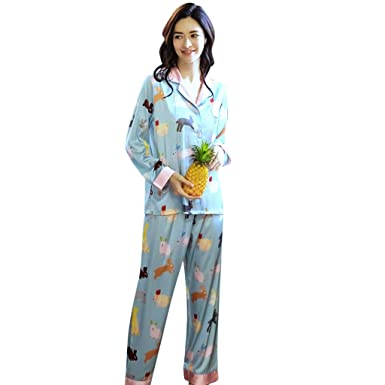 f56b9ea7f2c Doad Womens Intimates Women Lingerie Casual Cute Printed Home Clothing  Fashion V-Neck Long Sleeve Sleepwear Pants at Amazon Women s Clothing store