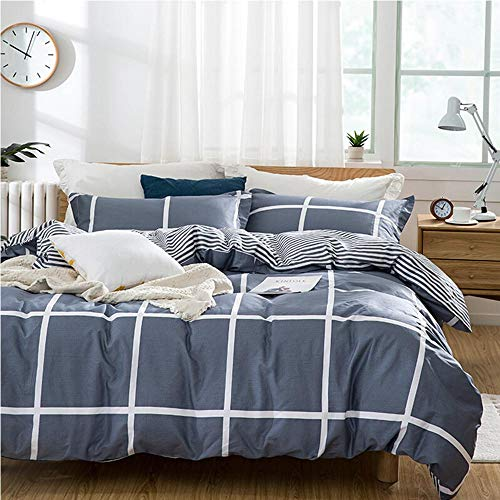 TIFFICO Duvet Cover Set Queen Size - 3 Pieces Grid Geometric Striped Microfiber Soft Lightweight Down Duvet Comforter Quilt Bedding Covers with Zip Ties - 90x90 inch for Young Women Men, Navy Blue - Grid Microfiber Tie