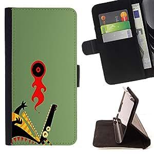 KingStore / Leather Etui en cuir / Samsung Galaxy S4 Mini i9190 / Abstract Dragon