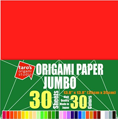 [Jumbo 13.8 inch Made In Japan] Taro's Origami Studio Premium Japanese Origami Paper (13.8 inch, 30 Sheets, Single Side 30 Colors)