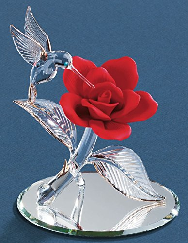 Goldia Glass Baron Hummingbird W/Rose Red Figurine