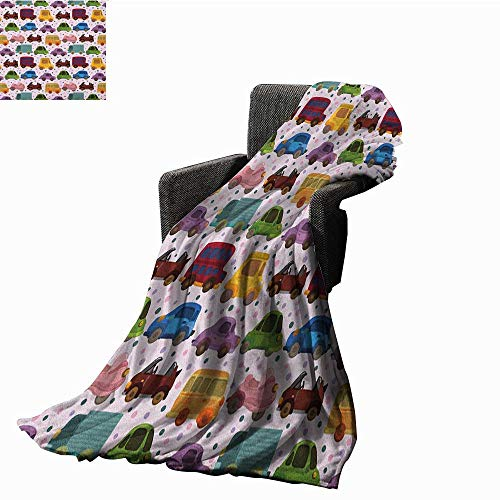 """ScottDecor Bed or Couch 70"""" x 60""""Cars Microfiber All Season Blanket Cute Cartoon Style Vehicles Double Deckers Vans Roadsters Childish Baby Boy Collection Warm All Season Blanket for Multicolor"""