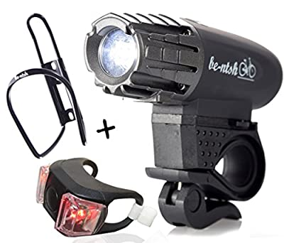 BENTSH Bike Light USB Rechargeable LED (Set of 4) Bicycle light Backlight Bell Bottle Holder POWERFUL Front And Back Rear For MEN WOMEN KIDS Flashlight Cycling Safety for Night Riding FREE TAIL LIGHT