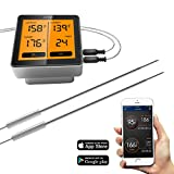 #8: Wireless Remote Meat Thermometer, Comfyer Bluetooth Digital Food Cooking Instant Read Thermometer with Dual Probe, Alarm Monitor for Candy BBQ Grill Kitchen Smoker Oven, Support IOS, Android