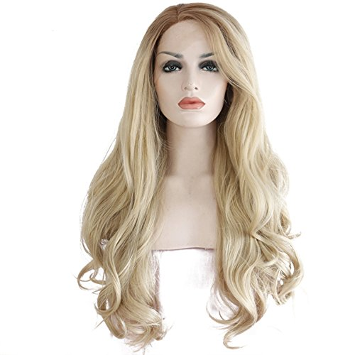 Dreambeauty Ombre #12 Blonde Color Pretty Natural Wavy Synthetic Hair Lace Front Wigs 2 Tone Color Light Brown Roots Half Hand Tied Heat Resistant Hair Replacement Full Wig 22 inch with a Free Wig Cap