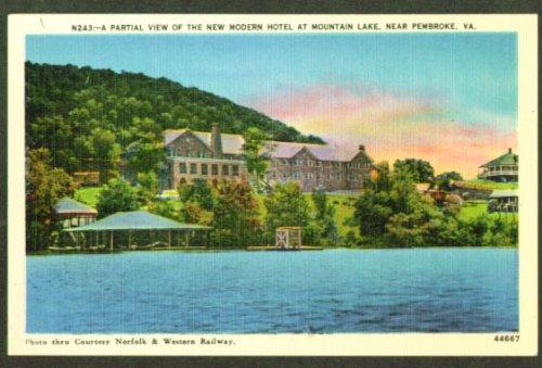 Hotel Mountain Lake Pembroke VA postcard - Lake Pembroke