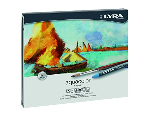 LYRA Aqua Color Water-Soluble Wax Crayons, Set of 24, Assorted Colors (5611240) (Aqua Crayon)