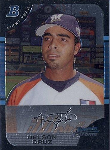 2005 Bowman Draft Picks & Prospects Chrome Nelson Cruz Brewers Baseball Rookie Card #BDP165