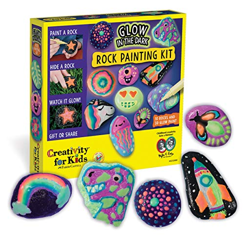 Creativity for Kids Glow In The Dark Rock Painting Kit - Paint 10 Rocks with Water Resistant Glow Paint - Crafts for Kids (Glow In The Dark Activities For Kids)