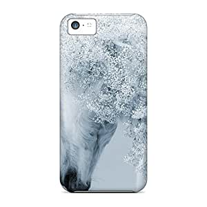 For Iphone 5c Tpu Phone Case Cover(white Horse Flowers Mane Desktop)