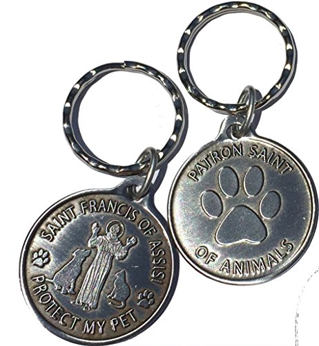 Assisi Medal - Saint Francis of Assisi Patron Saint Of Pets / Protect My Pet Pewter Color Keychain