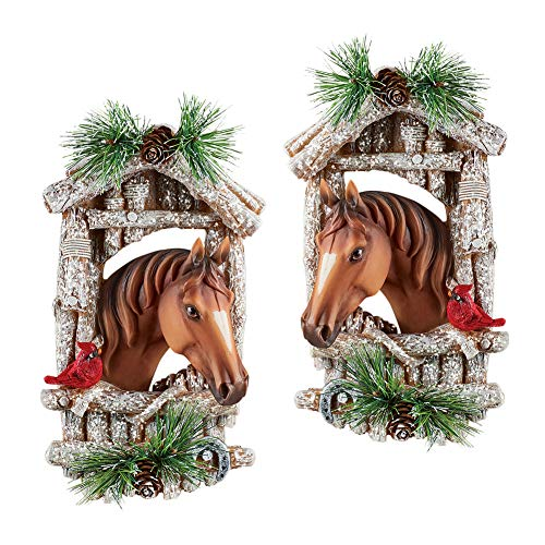 Decorative Winter Horse Couple Wall Art Sculpture Set - Country Style Home Decoration with Frosted Barn and Pinecones, Hand Painted Set of 2